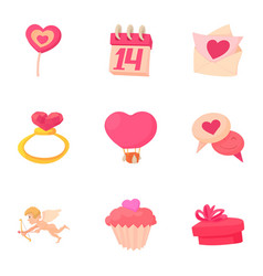 gift for valentine day icons set cartoon style vector image vector image