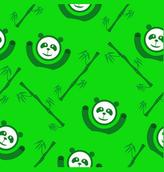 Green panda and bamboo seamless pattern vector