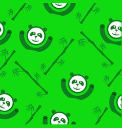 green panda and bamboo seamless pattern vector image vector image