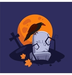 Halloween raven sitting on a gravestone vector