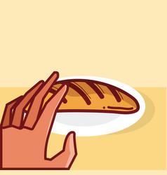 Hand holding bread vector