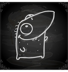 Happy monster drawing on chalk board vector