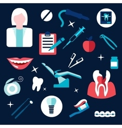 Health and dental themed flat icons vector