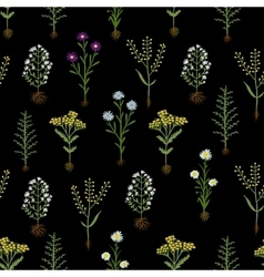 Herbarium flowers with roots seamless pattern vector image