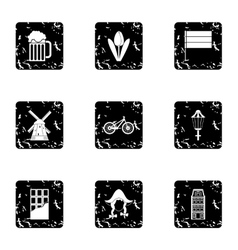 Holiday in holland icons set grunge style vector