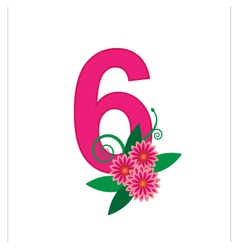 Number six with floral vector image vector image