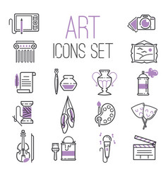 outlined art icon set on background modern vector image