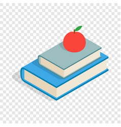 red apple and two books isometric icon vector image vector image
