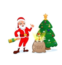 Santa claus with christmas toys and candy vector