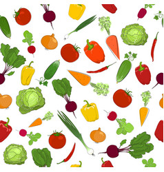 Seamless pattern of fresh vegetables vector
