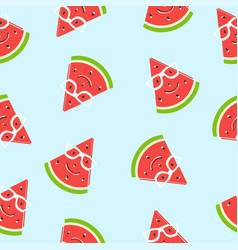seamless watermelon slice smiling with glasses vector image