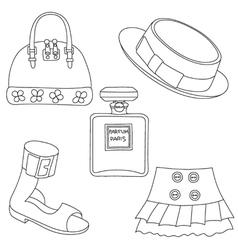 Set of outlined footwear handbag skirt hat perfume vector image vector image