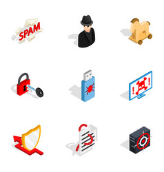 Spam virus thief icons isometric 3d style vector