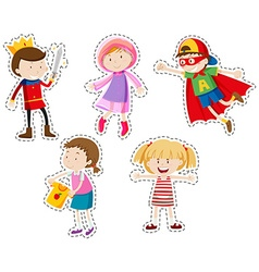 Sticker set of girls and boys vector