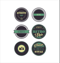 Vintage labels purple and green set 3 vector