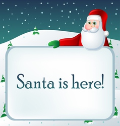Winter text frame with Santa vector image vector image