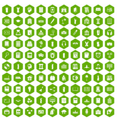 100 library icons hexagon green vector