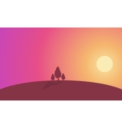 Landscape tree on hill at sunset silhouette vector image