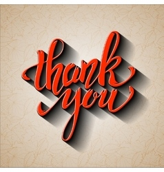 Thank You Hand drawn lettering with shadow effect vector image