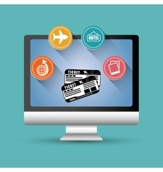 Travel ticket airline aircraft computer digital vector