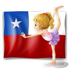 The flag of Chile and the young ballet dancer vector image