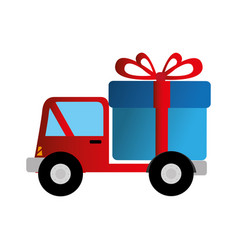 Truck delivery with giftbox service icon vector