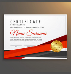 Clean modern certificate of excellence design vector