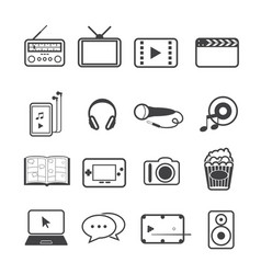 Entertainment icons set on texture background vector