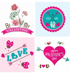 Valentines day cards with ornaments vector