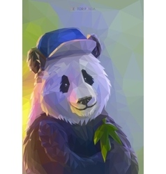 Cool panda rapper in polygonal style vector
