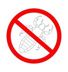 Prohibition sign a head human louse pediculus vector