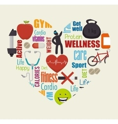 Wellness healthy lifestyle icons vector