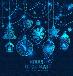 New years greeting card merry christmas bright new vector