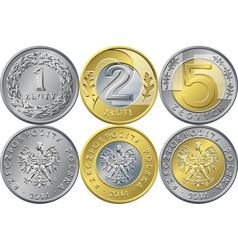 Set polish money one two and five zloty coins vector