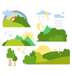 Summer forest flat background set vector