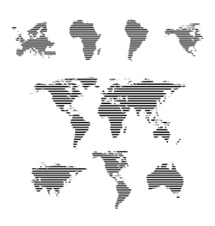 Black linear symbols set world maps on white vector