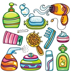 Icon set hygiene accessories vector