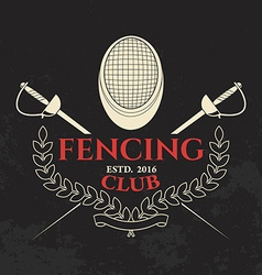 Fencing club label template vector