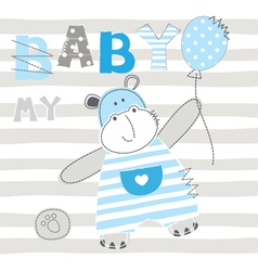 Baby background with cute little hippo vector