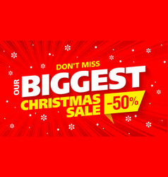 biggest christmas sale banner vector image vector image