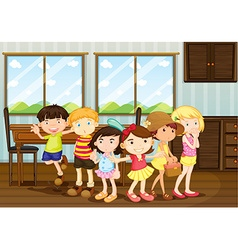 Boys and girls standing in the dining room vector image vector image