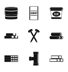 Building material icon set simple style vector
