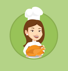 Chef cook holding roasted chicken vector