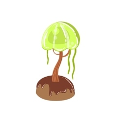 Chocolate swamp tree with jelly crown fantasy vector