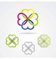Clover leaf icon set vector image