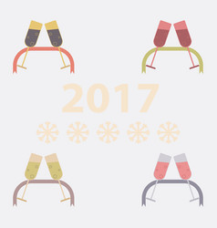 Collection of champagne glasses and ribbon vector