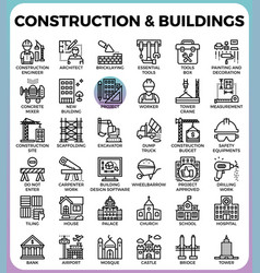 Construction buildings icons vector