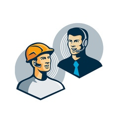Construction worker telemarketer retro vector