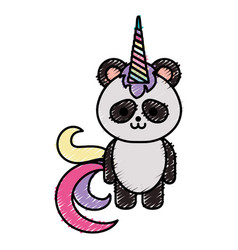 Cute fantasy panda bear with unicorn horn vector
