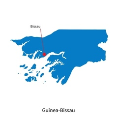 Detailed map of Guinea-Bissau and capital city vector image